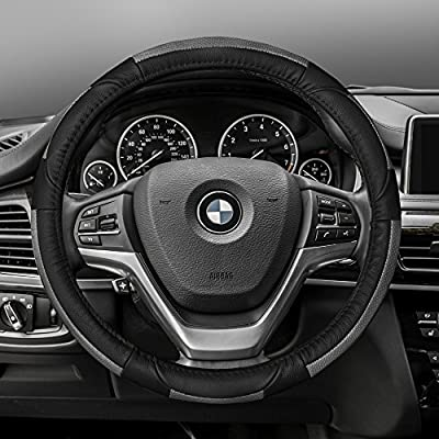 FH Group FH2002GRAYBLACK Steering Wheel Cover (Deluxe Full Grain Authentic Leather Gray/Black): Automotive