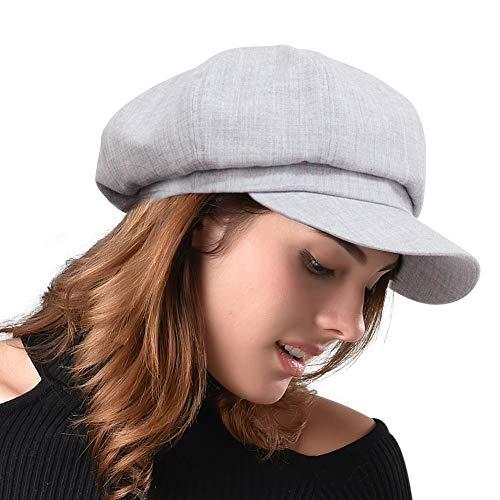 FURHATMALL Newsboy Cap for Women Spring Summer Thin Cotton Linen Gatsby Visor Hat Light Gray