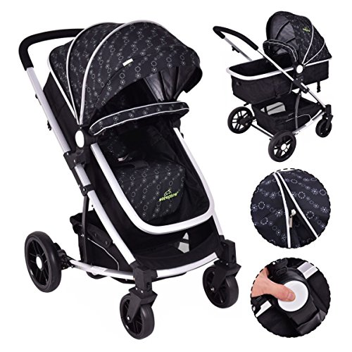 MD Group Baby Stroller 2-In-1 Foldable Aluminum Alloy Black Oxford Switchable Kids Travel by MD Group (Image #1)