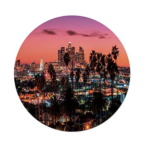Polyester Round Tablecloth,United States,Vibrant Sunset Twilight Scenery Los Angeles Famous Downtown with Palm Trees Decorative,Multicolor,Dining Room Kitchen Picnic Table Cloth Cover,for Outdoor Ind