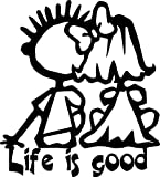 ANGDEST Life is Good Quote (BLACK) (set of 2) Premium Waterproof Vinyl Decal Stickers Laptop Phone Accessory Helmet Car Window Bumper Mug Tuber Cup Door Wall Decoration