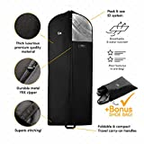 Luxury Garment Bag Cover and Shoe Bag | 60 inch Long, 5 In Gusset | Men Suit, Dance Dress, Wedding Gown, Fur Coat Hanging Clothes Storage, Carry On Travel | Breathable, Foldable, Moth Dust Protector
