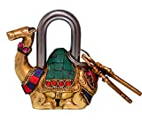 Purpledip Camel Shaped Brass Lock Padlock: Handmade Antique Design With Colorful Gemstone Work; Unique Collectible Combination Of Style & Security (10685)