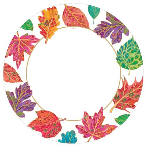 Fall Decorations Paper Plates Fall Decor Fall Wedding Dinner Size Jeweled Leaves 16 count -