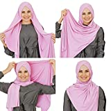 Cotton head scarf, instant hijab, ready to wear muslim accessories for women (Pink)