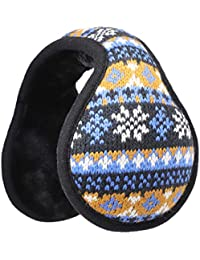 HomeDay Kids Knit Winter Earmuffs Windproof Foldable Ear Warmer Cover Back Worn Style (Brown)