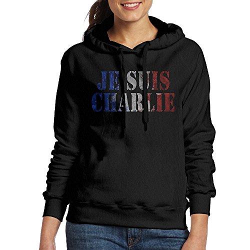 FUOCGH Women's Pullover Je Suis Charlie Hoodie Sweatshirts Black M