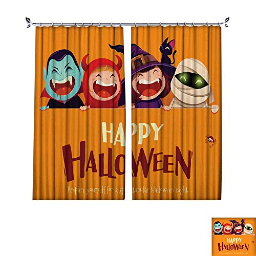 DragonBuildingMaterials Decor Curtains by Happy Halloween Party Group of Kids in Halloween Costume with Big Signboard W96 x L84 ()