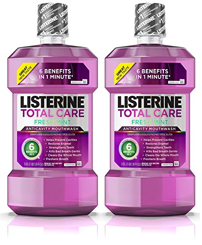 Listerine Total Care Anticavity Mouthwash, 6 Benefit Fluoride Mouthwash for Bad Breath and Enamel Strength, Fresh Mint Flavor, 2 Pack Each 1 L (Mouthwash Fresh Mint)