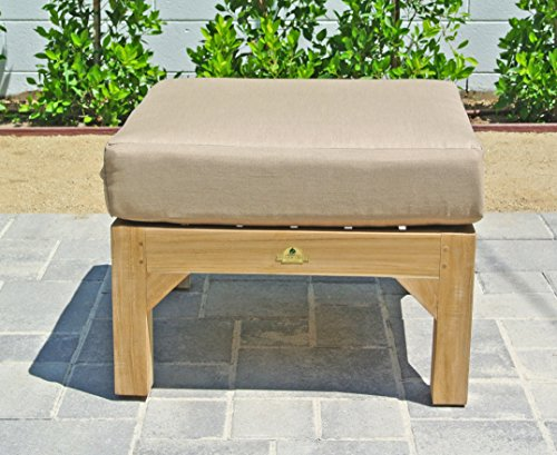 Fabric Outdoor Coal (Willow Creek Designs Huntington Outdoor Teak Ottoman with Sunbrella Cushion, 24