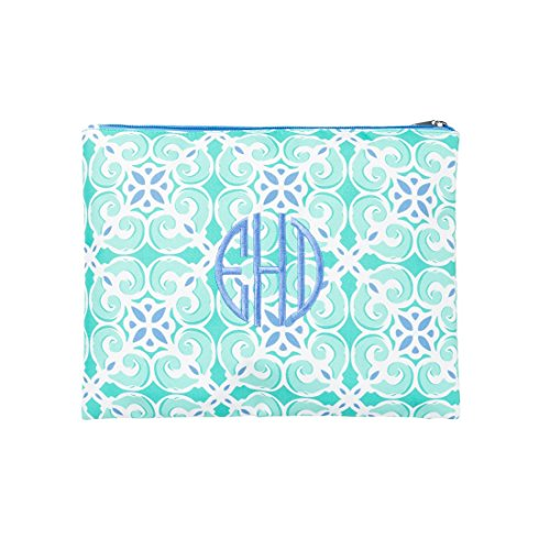 (Wholesale Boutique Fashion Print Zippered Pouch Can Be Personalized, Blank, Sea Tile)