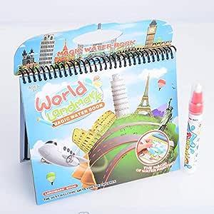 كتاب التلوين السحري متعدد الإستخدام عالم المعالم السياحية مع قلم التلوين بالماء