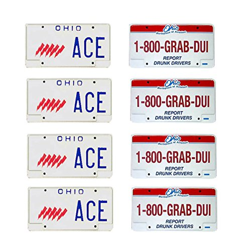 (1: 18 scale model Ohio State Highway Patrol police car license tag plates)