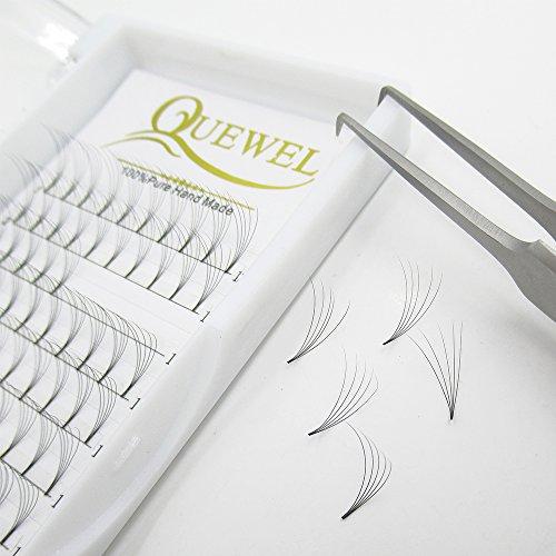 Russian Volume Premade Fans Eyelashes Extension 5D 6D Thickness 0.07/0.10 Curl C/D Length 8-15mm by Quewel(5D-0.07-D, 11mm)