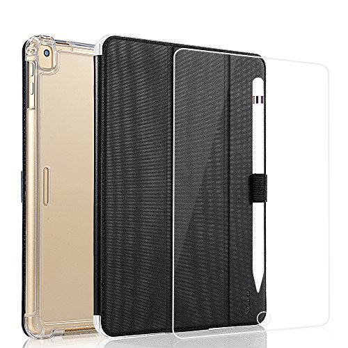 Valkit for iPad Pro 10.5 Case with Screen Protector, Protective Heavy Duty Rugged Shockproof Armor with Pencil Holder for Apple iPad Pro 10.5 Cover 2017 with Tempered Glass Screen Protector, Black by Valkit