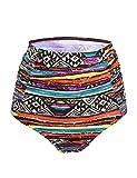 Septangle Women's Vintage High Waisted Bikini Bottom Shirred Tankini Briefs (14, National Style)