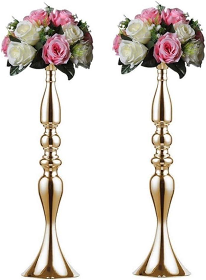 "Nuptio 2 Pcs Versatile Metal Flower Arrangement, Candle Holder Stand Set Candlelabra for Wedding Party Dinner Centerpiece Event Road Lead Restaurant Hotel Decoration (Gold, 19.7"" H)"