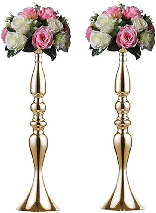 Amazon Com Nuptio Vases For Centerpieces 2 Pcs Gold Vases Wedding Centerpieces For Tables Versatile Metal Flower Arrangement For Wedding Party Dinner Centerpiece Decor Gold 19 7 H Home Kitchen