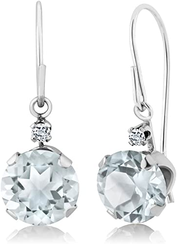 14 K White Gold Earrings with Blue Topaz 6mm Round checkerboard stones