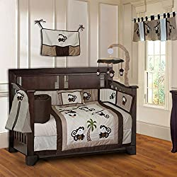 BabyFad Monkey 10 Piece Baby Boy's Crib Bedding Set