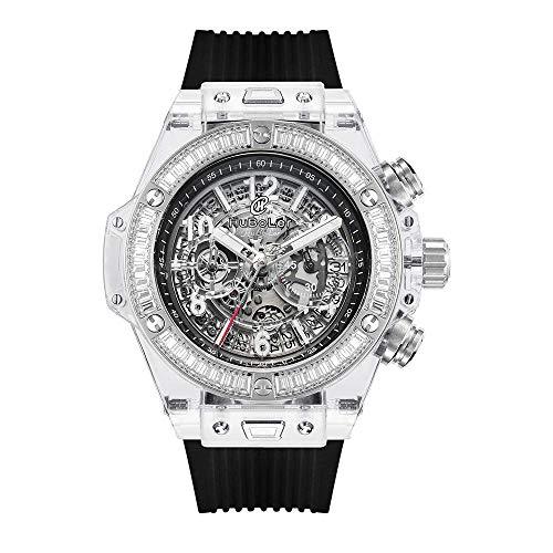 Huboler 47MM Transparent Hollowed Chronograph Japanese Multy Function Sports quratz Movement Rubber Strap Diamond Bezel Mens Wrist Watch