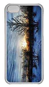 Customized iphone 5C PC Transparent Case - Winter Sunset Scene Personalized Cover