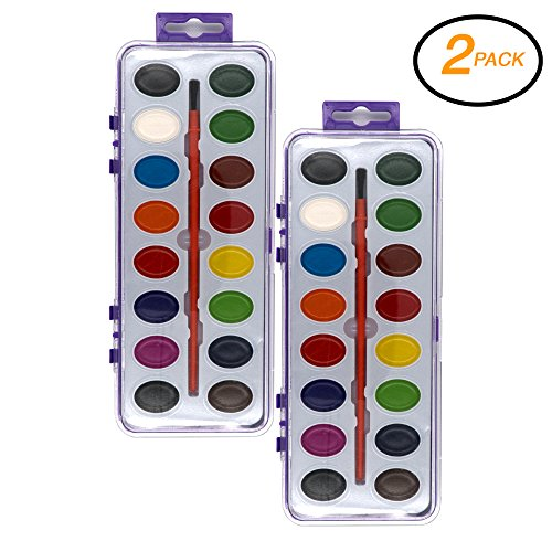 (Emraw Assorted 16 Ct Color Washable Paint Easy Take-Off Semi Moist Watercolors with Brush Art Craft Tool - for School & Home (Pack of 2))