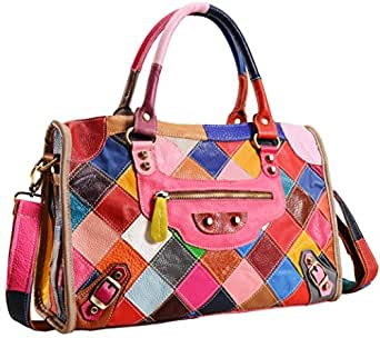 Heshe Womens Multi-color Shoulder Bag Hobo Tote Handbag Cross Body Purse (Colorful)