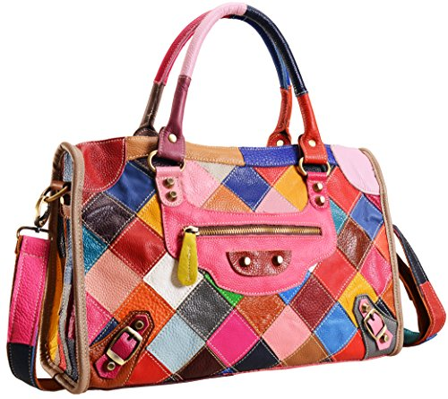 Heshe Women's Multi-color Shoulder Bag Hobo Tote Handbag Cross Body Purse -