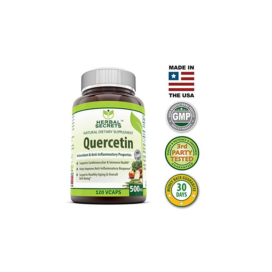 Herbal Secrets Quercetin 500 Mg 120 Vegetarian Capsules Supports Healthy Ageing, Cardiovascular Health, and Immune Health