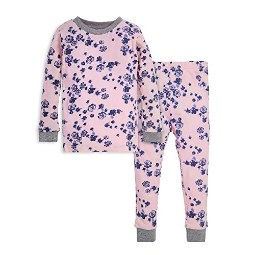 Burt's Bees Baby Baby Girls' Pajamas, Tee and Pant 2-Piece PJ Set, 100% Organic Cotton, Indigo Flowers, 5 Years