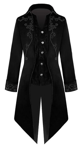 BAIHUODRESS Gotico Steampunk Uomo Frac Uniforme Costume Outwear Cappotto per Costume Vittoriano Cappotto Vintage