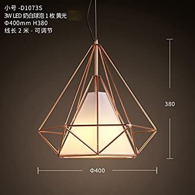 Led Retro diamond chandelier,Metal Wire Pyramid lamps Single head Modern For Living room Restaurant Hot pot Barber shop Bar- 38x40cm(15x16inch)