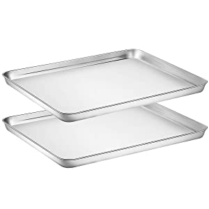 Yododo Baking Sheet Set of 2, Stainless Steel Cookie Sheet Baking Pan Toaster Oven Tray Pan, Size 16 x 12 x 1 inch, Non Toxic & Healthy, Mirror Finish & Rust Free, Easy Clean & Dishwasher Safe
