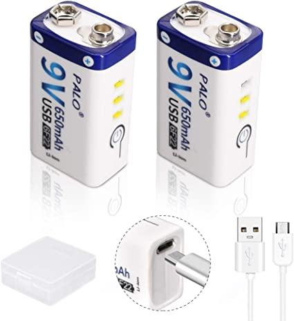 Palo 2-Pack USB 9V 650mAh Batería Recargable de ión de Litio con Cable USB para Teclado Micrófono Alarma de Humo Controles universales: Amazon.es: Electrónica
