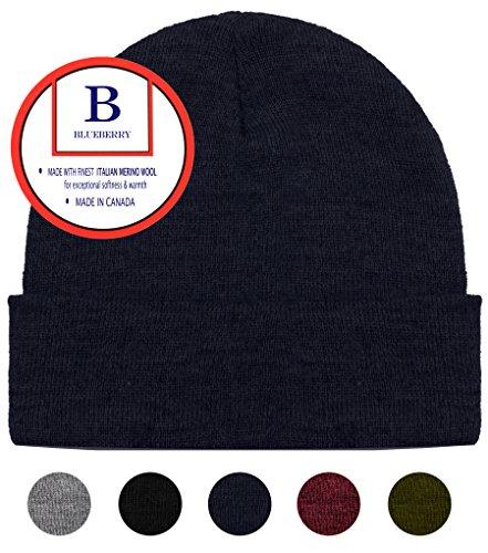 Navy Wool Watch Cap - Blueberry Uniforms Navy Merino Wool Beanie Hat -Soft Winter and Activewear Watch Cap