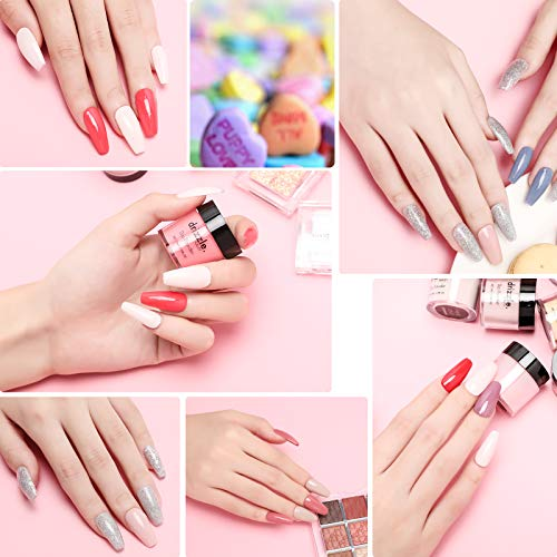 Acrylic Nail Powder Kit Dip Powder Colors Set 12 Color Dipping Nail Powder Stater Kit Glitter Red Pink Series Color Clear Acrylic Powder for Nails Romance Collection Christmas Gift