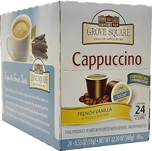 Grove Square Cappuccino, French Vanilla, 24 Count Single Serve - One Brands Square