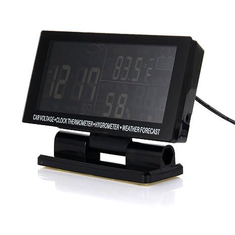 Crewell - Termómetro Digital para Coche, higrómetro, Reloj meteorológico, Pantalla LED