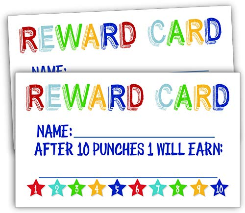 50 Rewards Punch Cards-Incentive Cards for Kids, Students, Teachers, Small Business, Classroom, Chores, Reading Incentive Awards for Teaching Reinforcement Loyalty Cards for Business Customers.]()