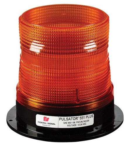 Federal Signal 211820-02 Pulsator 551 Plus Strobe Beacon, Class 2, Permanent Mount with Amber Dome