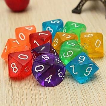 Polyedrische W/ürfel D10,10 St/ück Spielw/ürfel Set Doppelfarben Polyedrischen W/ürfelspiele von D10 f/ür DND MTG RPG Dungeons und Drachen Acryl Lila