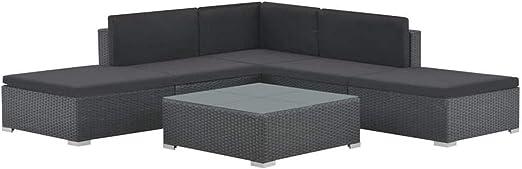 SOULONG Conjunto Muebles de Jardín Ratán 6 Piezas Set de ...