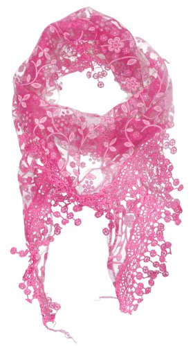 Womdee Lace Tassel Burntout Floral Print Triangle Scarf Shawl (Hot Pink) With Womdee Accessory