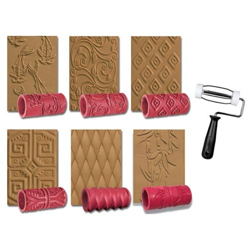 AMACO Clay Texture Rollers, 4 Inches, Assorted Designs, Set of (Clay Texture Tools)