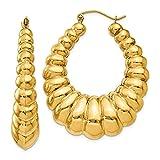14K Yellow Gold Jewelry Shrimp/Creole Earrings 34 mm 41 mm Polished Scalloped Hoop Earrings