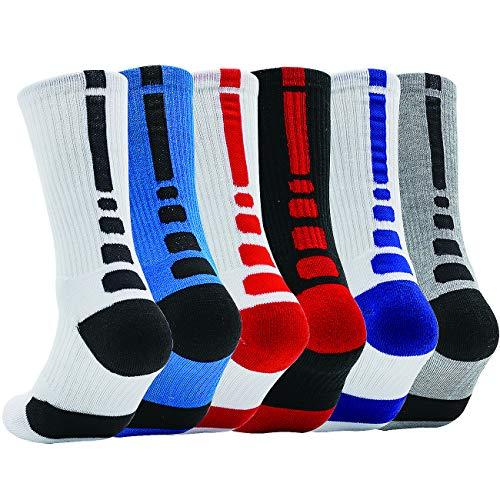 Boys Athletic Basketball Socks Youth Elite Sport Hiking Outdoor Crew Sock 6 Pack