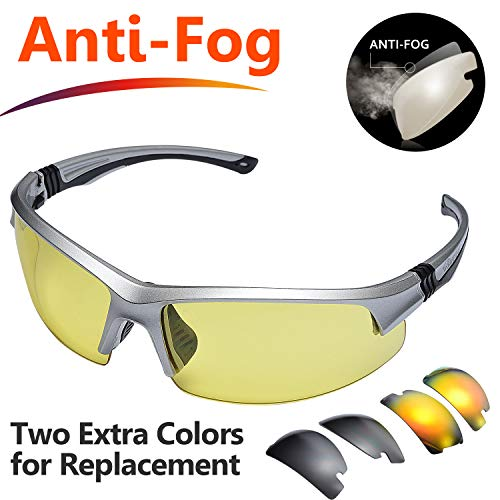 SAFEYEAR Anti Fog Safety Glasses- [3 Interchangeable Lens] VU Protection Work Sunglasses for Men and Women No-Slip Grips, Eye Protection Safety Goggles for DIY, Lab, Welding, Grinding,Chemistry