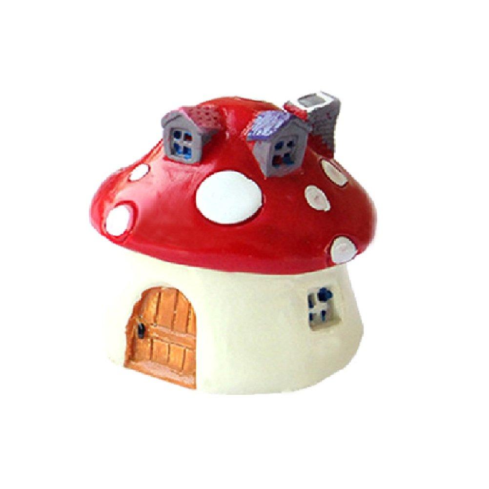 OUNONA Miniature Mushroom House Decoration Fairy Garden Dollhouse Plant Pot Figurine (Bright Red)