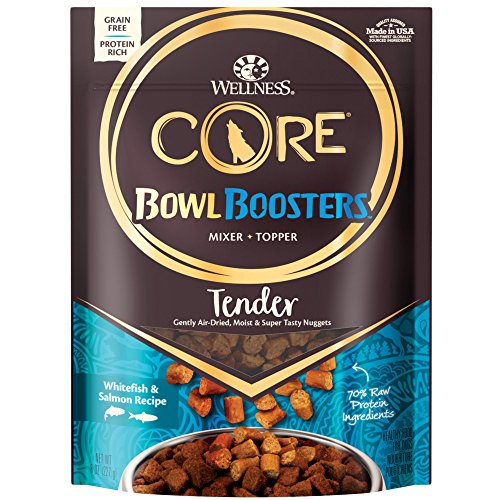 Wellness Core Natural Grain Free Bowl Boosters Tender Dog Food Mixer Or Topper, Whitefish & Salmon Recipe, 8-Ounce Bag